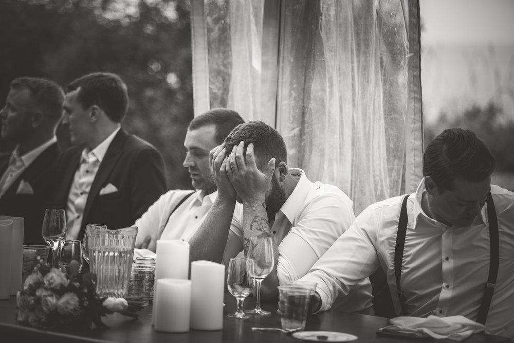 crying groomsmen during Qualicum Beach wedding speeches