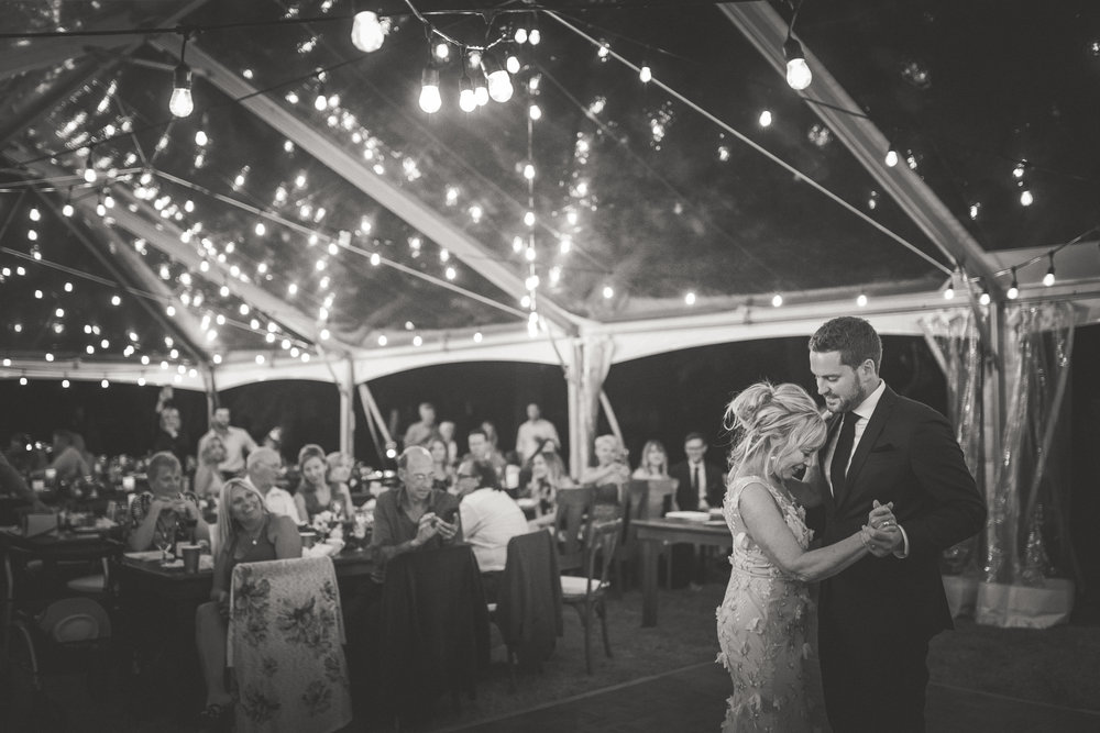 groom dances with mother at Qualicum Beach oceanfront wedding reception
