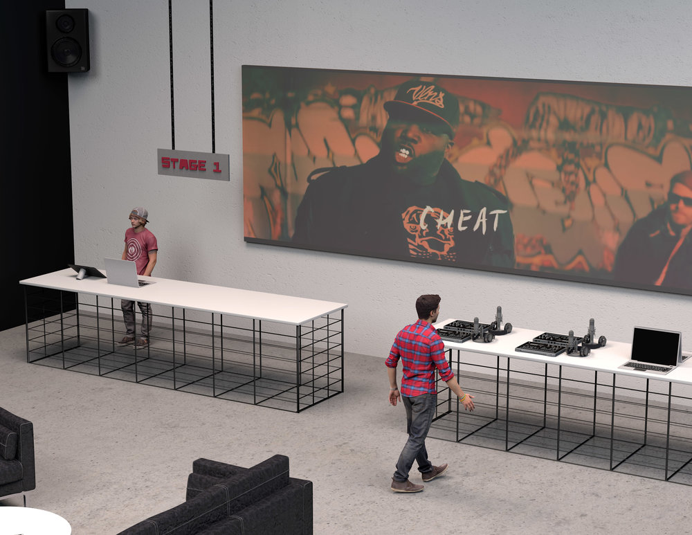 Stage One:  Similar to what Apple does with their Genius Bar, Stage One is an area where customers can  rent out mixing equipment and other big-ticket items as well as get troubleshooting advice from music experts. The big screen at the back of the store will be streaming music videos and live shows on a constant loop.