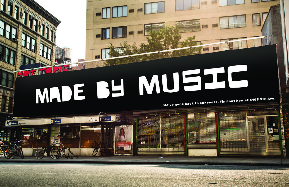 MADE BY MUSIC with the location of the new store.