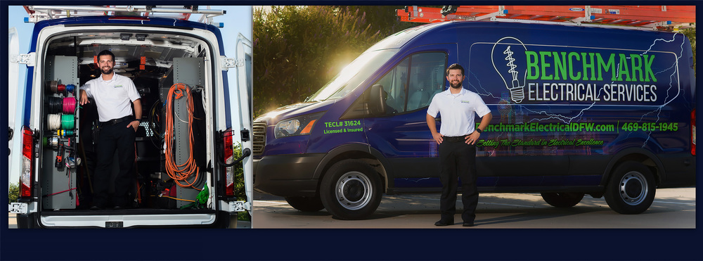 Master Electrician of Benchmark Electrical Services, with electricians in Plano and Frisco Texas, smiling in front of his work van.