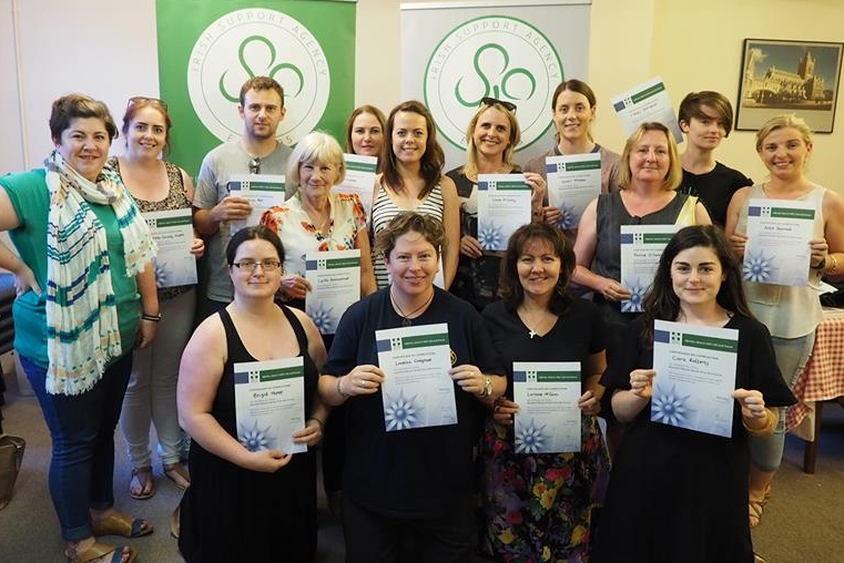 Students with their Mental Health First Aid certificates, along with certified trainer Elaine O'Brien