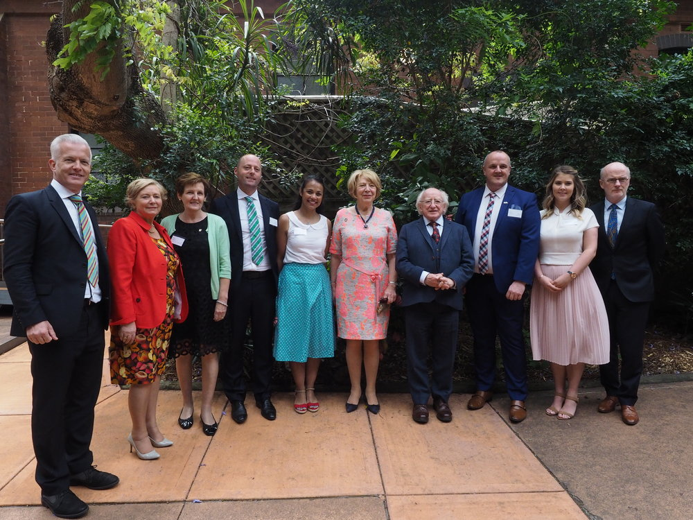 President Higgins, Sabina Higgins, The Tánaiste Frances Fitzgerald and former Irish Ambassador to Australia Noel White with Irish Support Agency Committee & Staff members.