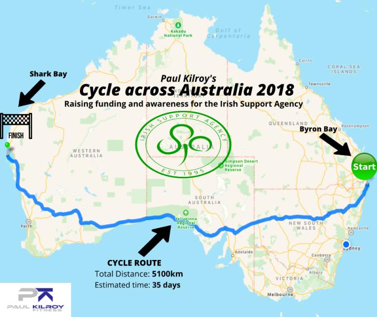 Australia Map Byron Bay.Paul S Cycle Across Australia Irish Support Agency