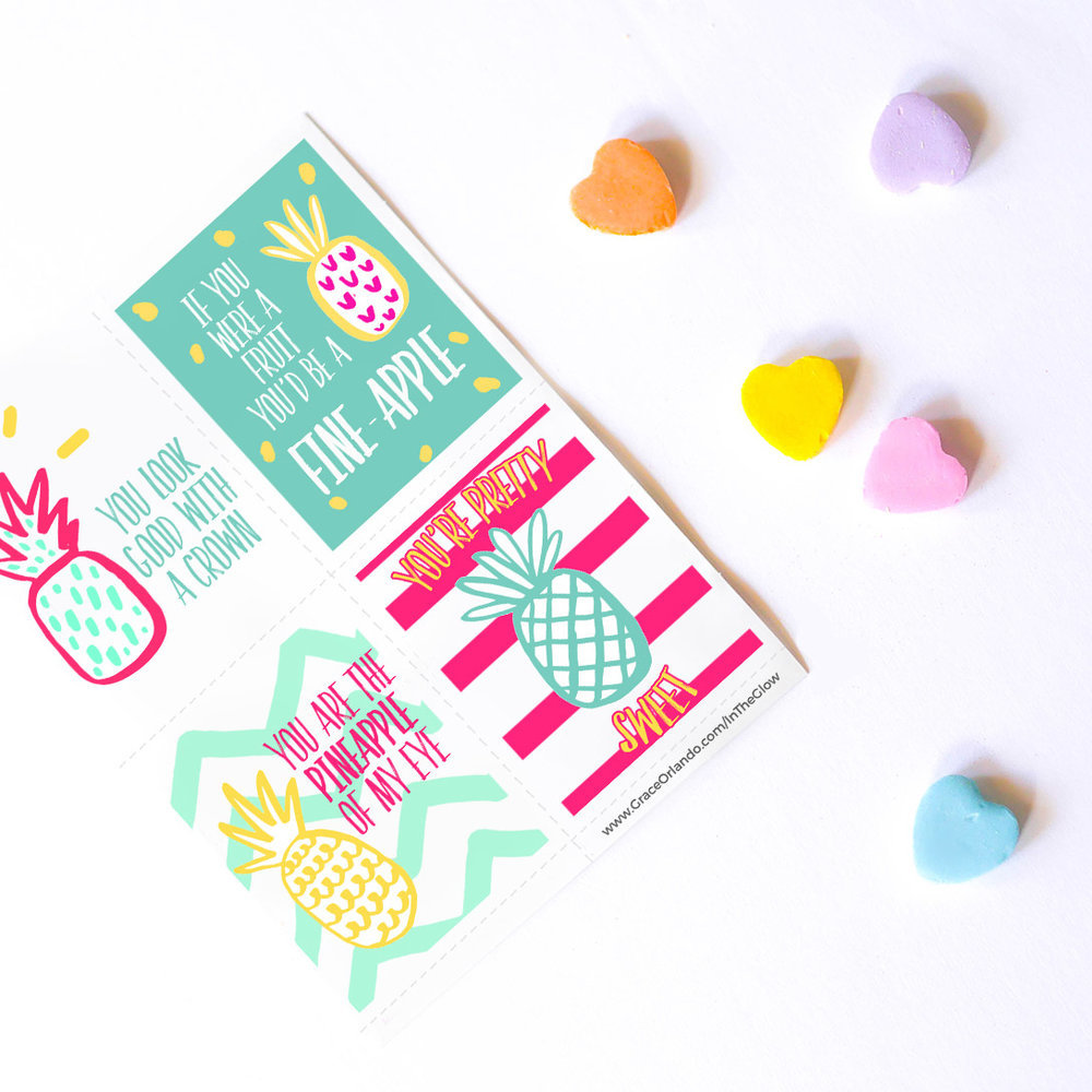 FREEBIE - Pineapple Valentines Cards -