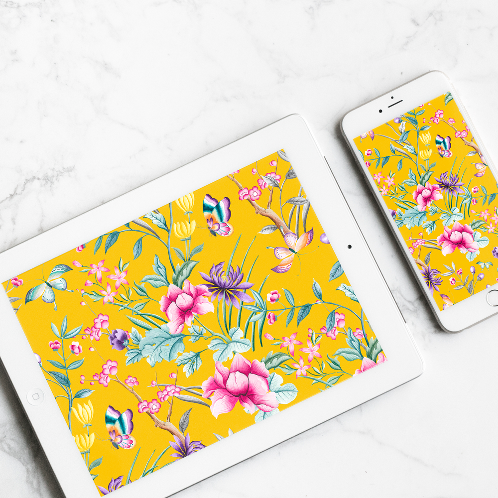 FREEBIE - Chinoiserie Floral Digital Wallpaper -