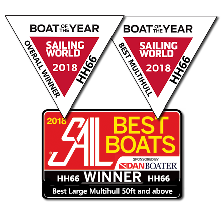 HH66 is the winner    SAIL Magazine   's Best Boat award,    Sailing World's    Best Multihull and Overall Winner 2018. Congratulations to the entire HH Catamarans team,    Morrelli & Melvin Design & Engineering Inc.   , our industry partners, and, of course, our gracious and supportive owners. We couldn't be more proud of this honor.