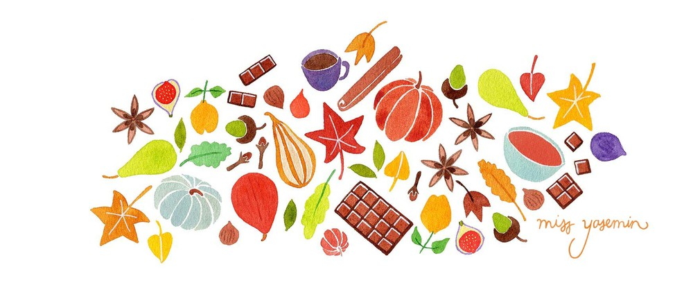 miss yasemin watercolour painting of Autumn foods and objects