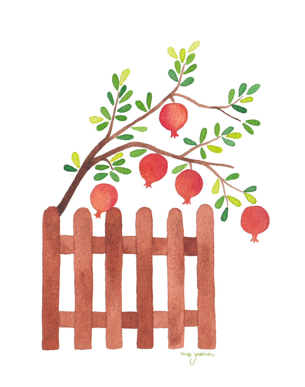 miss yasemin watercolour painting of fence with pomegranate tree