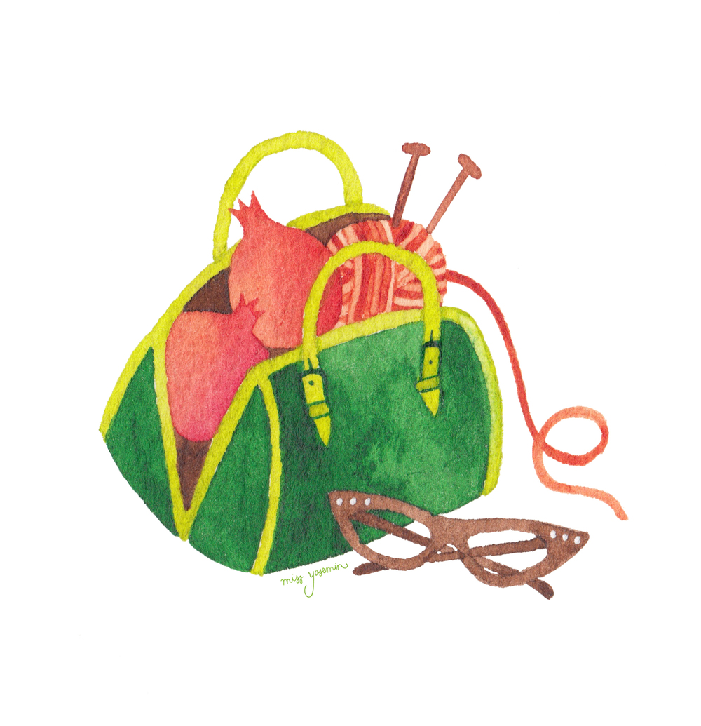 miss yasemin watercolour painting of handbag with pomegranate, sunglasses and knitting