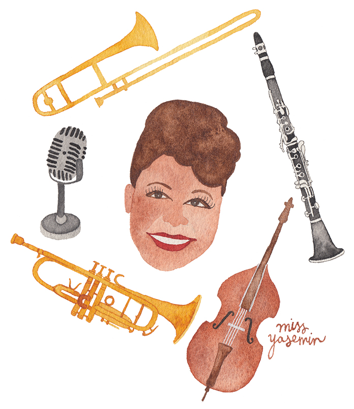 miss yasemin watercolour painting of Ella Fitzgerald and musical instruments