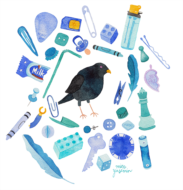 miss yasemin watercolour painting of a Bowerbird surrounded by blue objects