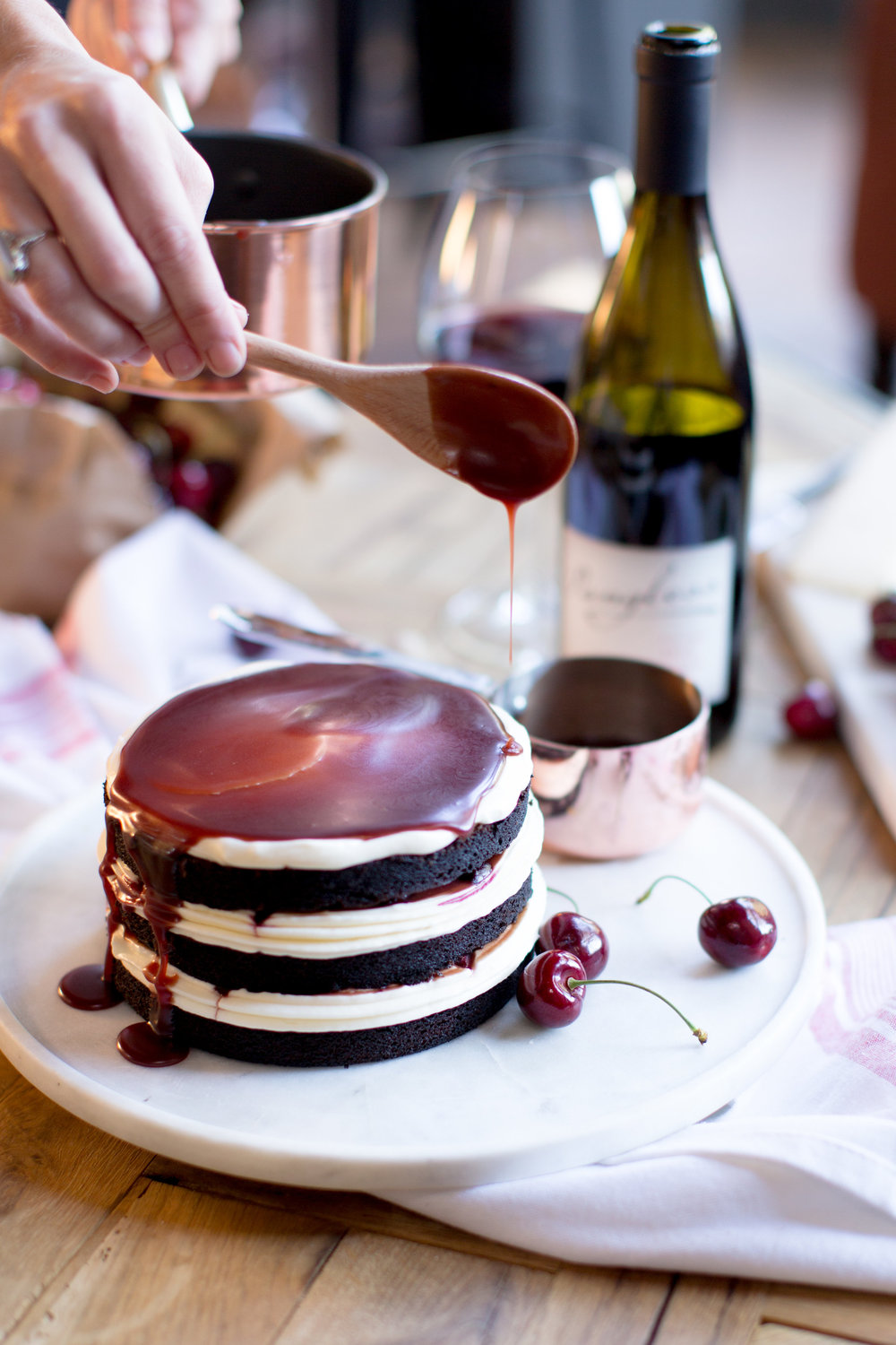 Cake Bloom's Pangloss Cellars Pinot Noir Caramel Sauce on The School of Styling | asavvylifestyle.com / portraits to the people