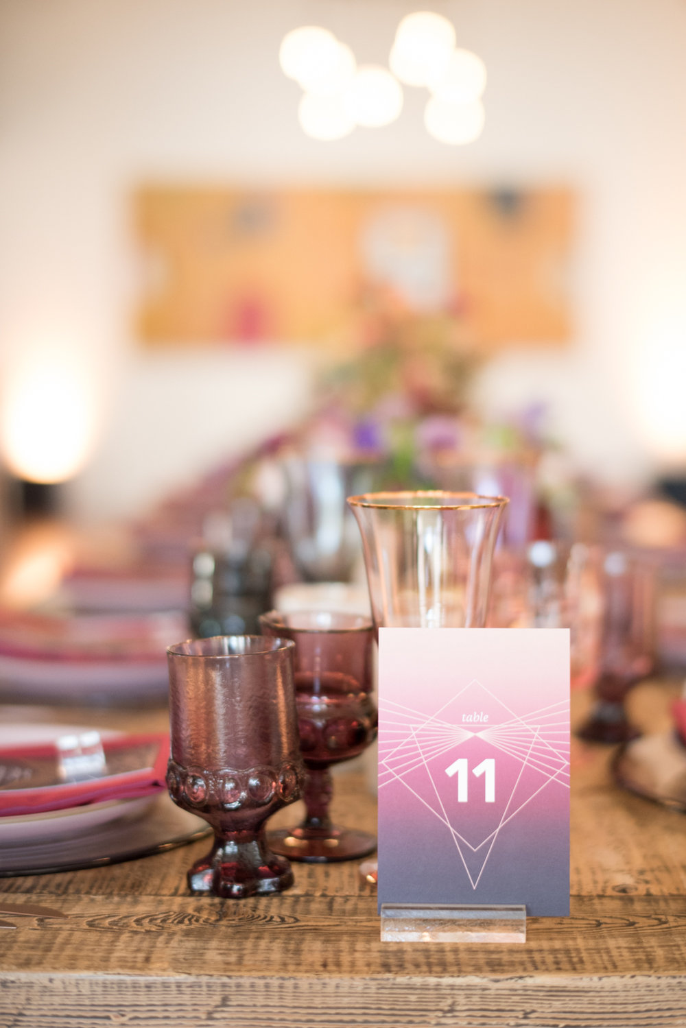 art deco jewel tone wedding table number