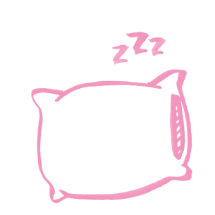 "Illustration of a pillow with ""z's"" coming off it"