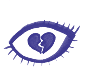 Illustration of a broken heart inside an eye
