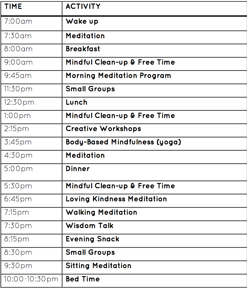Retreat Schedule -