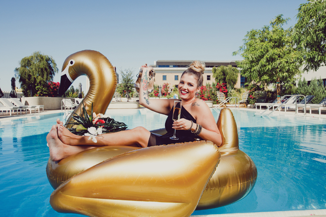 modern wedding gold swan float