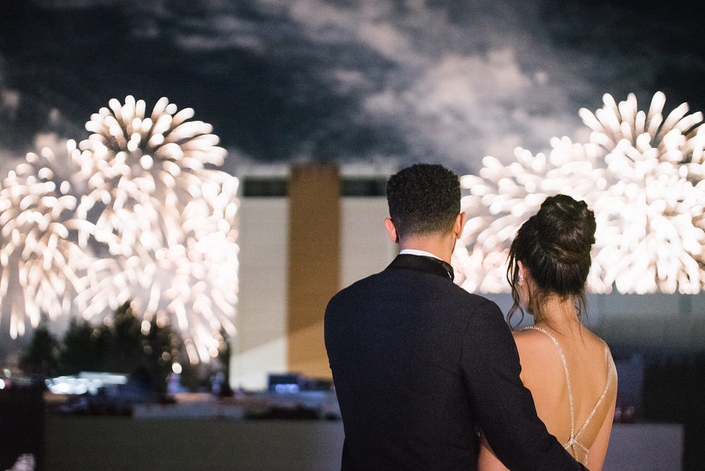 wedding reception fireworks