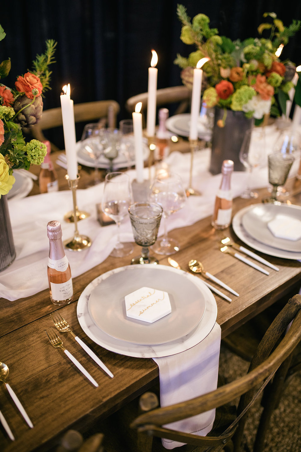 gold and marble tablescape