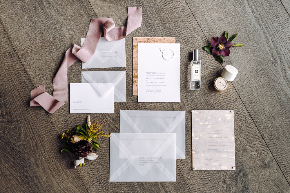 modern wedding stationary