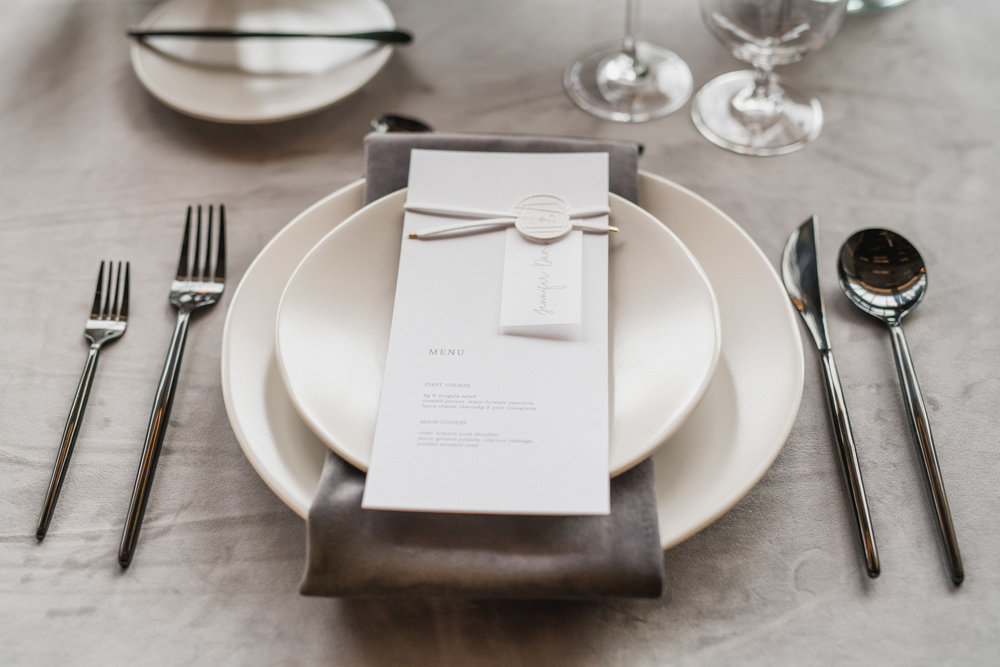 modern contemporary gray wedding place setting