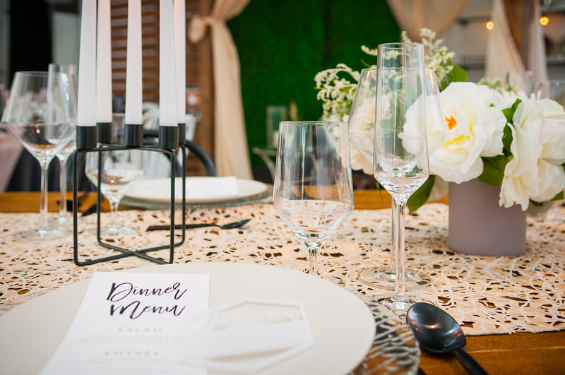 industrial romantic place setting modern wedding