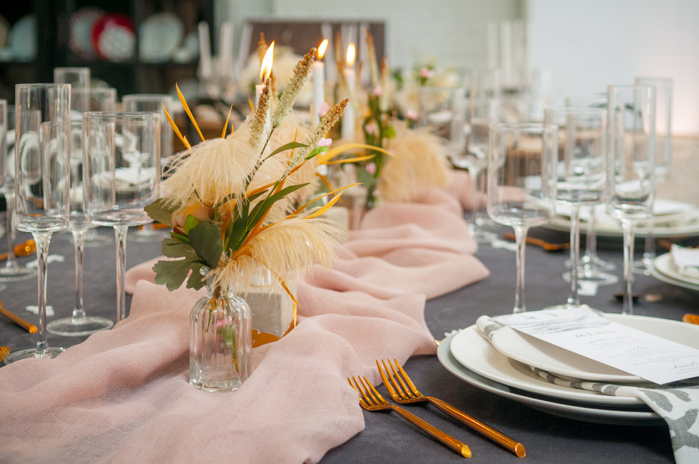modern blush and gray event design