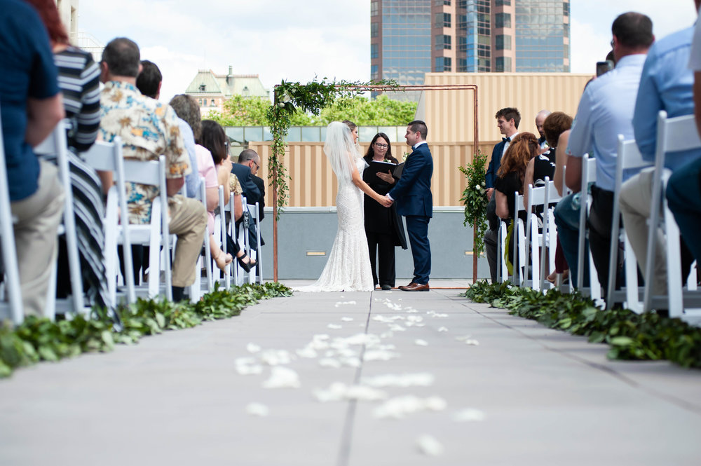 modern wedding arch Kimpton Sawyer wedding