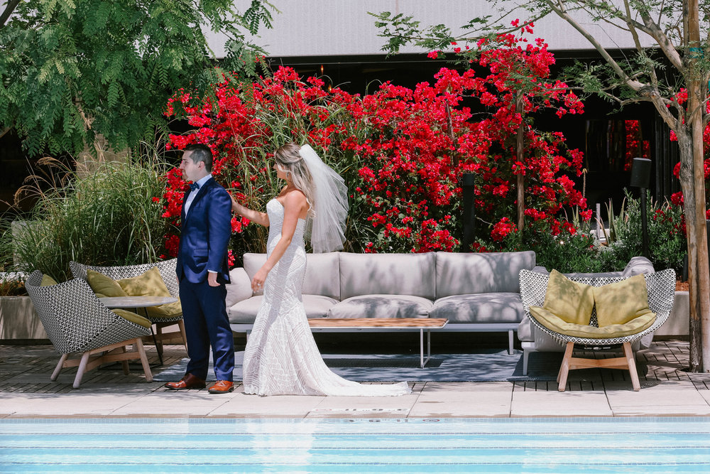 first look Kimpton Sawyer wedding modern wedding