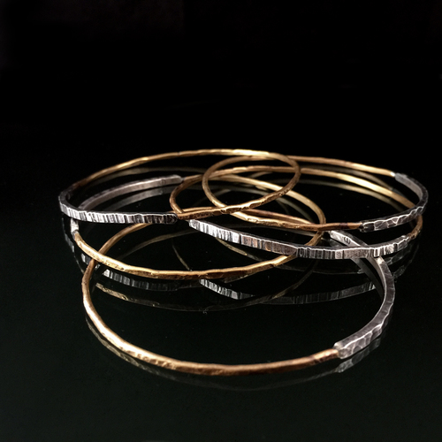made custom bracelets bra filled buy bangles thin rose handmade hammered by nadinejewelry gold stack