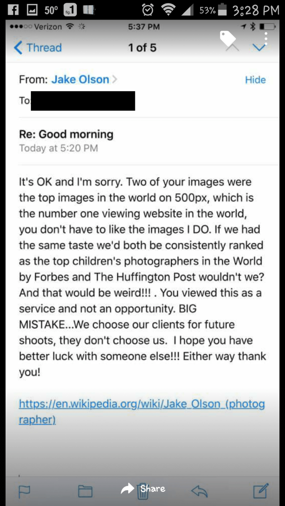 A complaint email from a client and Jake's super professional response.