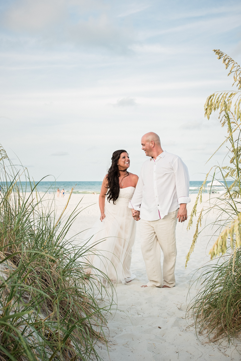 A couple gets married on St Augustine Beach