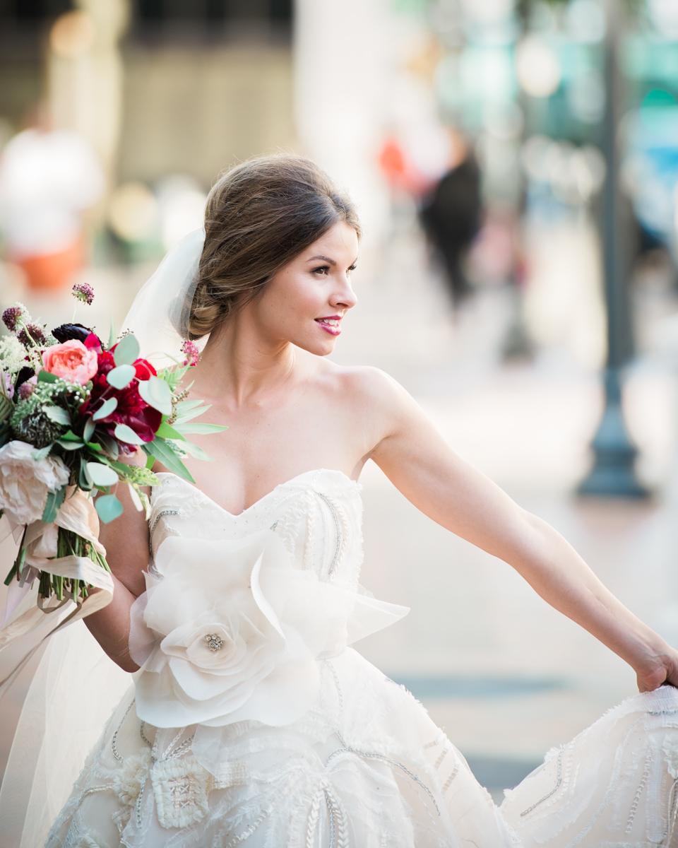 A happy bride with flowers in Jacksonville