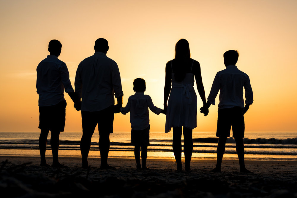 Family Beach Silhouette