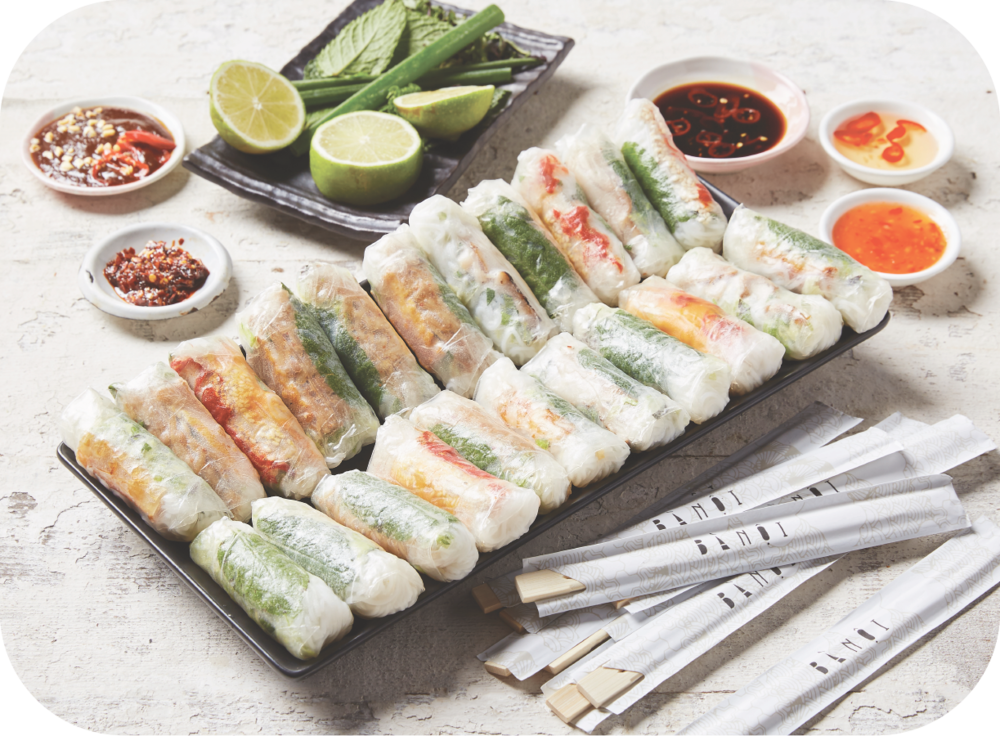 #2 RICE PAPER ROLLS - 35 x assorted mini rice paper rollscaters for 6 - 8 people$105