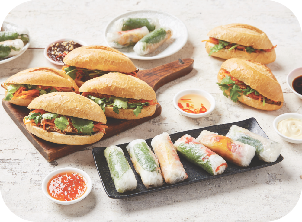 #3 BANH MI & RICE PAPER ROLLS - 12 x assorted mini banh mi24 x assorted mini rice paper rollscaters for 10 - 12 people$135