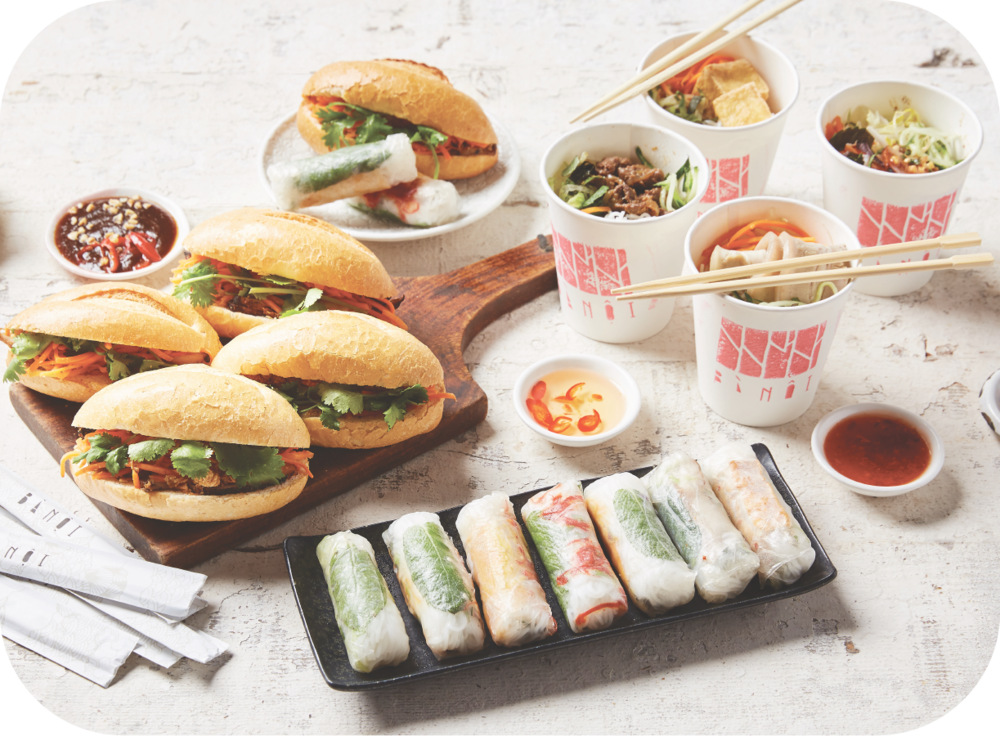 #5 VERMICELLI, BANH MI & RICE PAPER ROLLS - 12 x assorted vermicelli cups12 x assorted mini banh mi12 x assorted rice paper rollscaters for 10 - 12 people$165