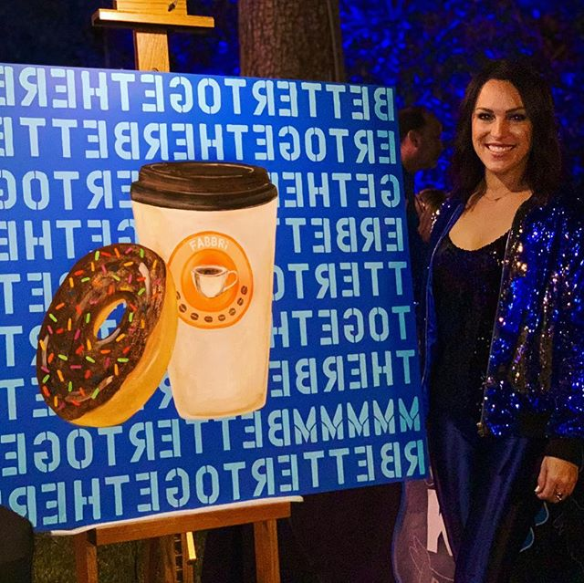When you paint live for The True Blue Gala... a fundraiser for the @houstonpolicefoundation 🍩☕️ 😋 . . . . . . #senseofhumor #police #donut #coffee #painting #livepainting #contemporaryart #design #interiordesign #popart @tilmanfertitta #color #happy #entrepreneur #neversettle #bettertogether #inversion #angelafabbri #blue #mmmmm #perfectpair