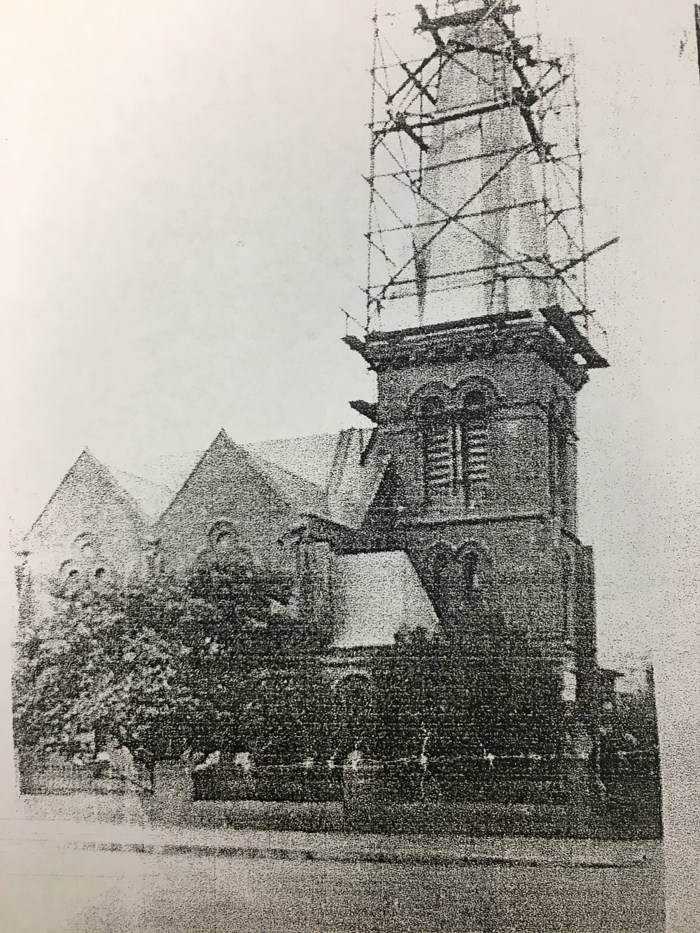 During construction of the Original Spire