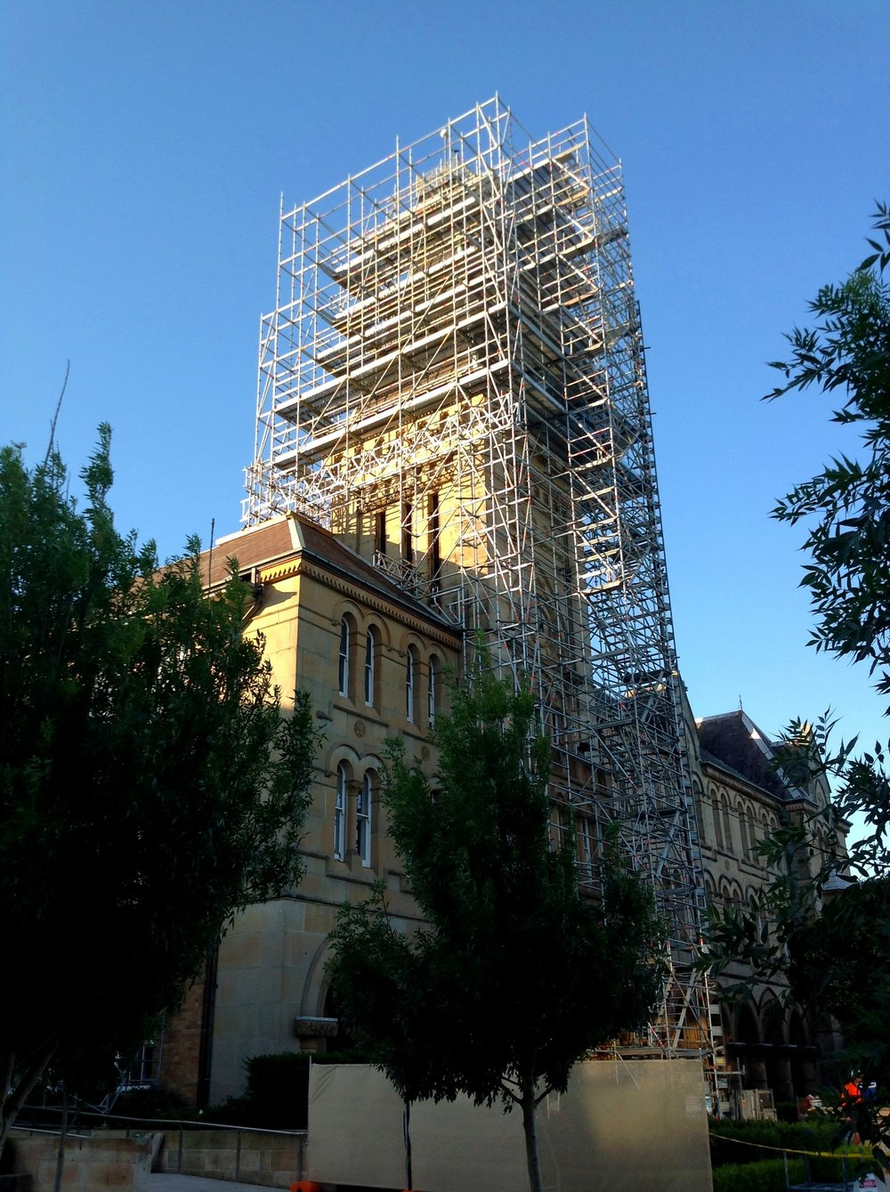 Newington College - This 34m high cantilevered scaffold will provide safe and reliable access for restoration works on the spire of the Founders Building at Newington College this summer.This project was completed last week, a wonderful achievement to finish out the working year.