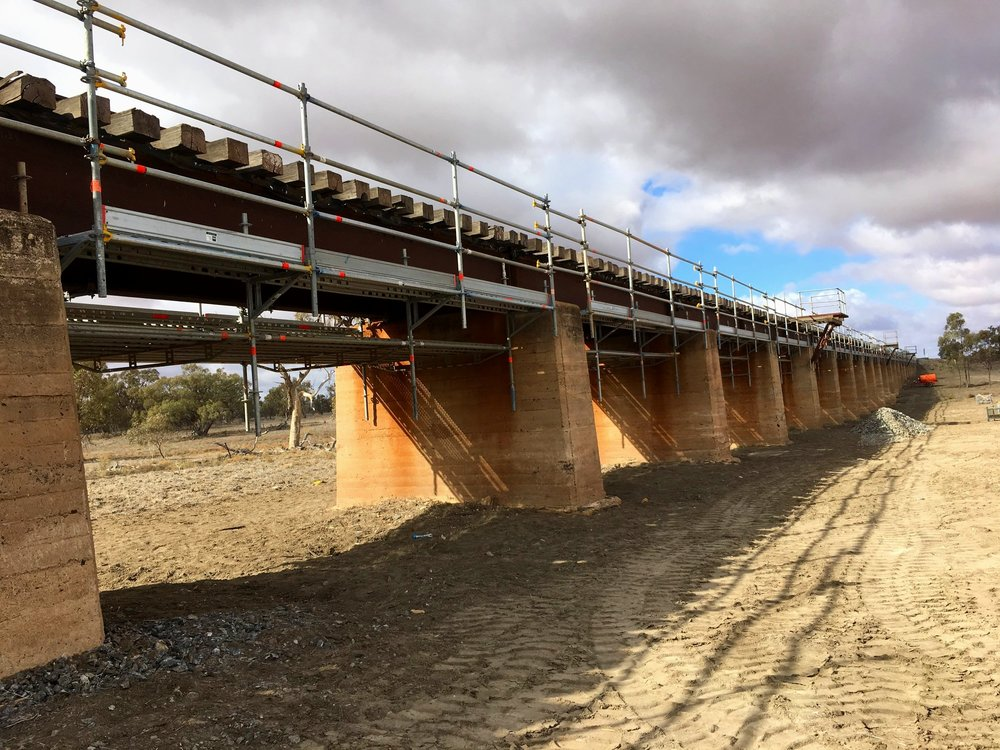 Menindee Rail Bridge - Hung scaffold for bridge maintenance.