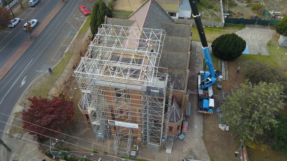 Goulburn Uniting Church - The Kedar Roof structure being craned into place on this multiphase project was a significant milestone. The weather proof membrane enabled interior works to proceed after the spire had been demolished.More to come on this project in 2019.
