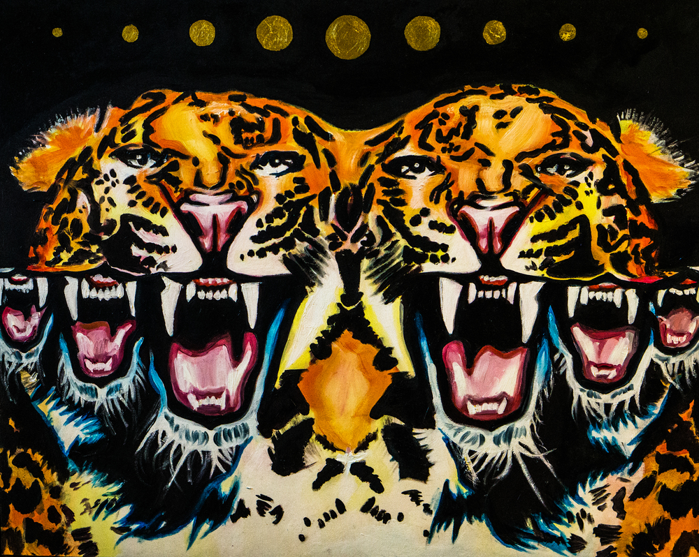 """Les Tigres""- Acrylic on Illustration Board, 24x18"""