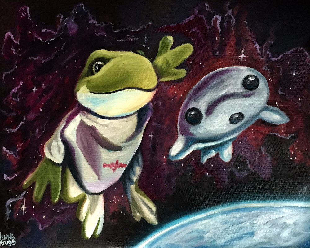 """Ulyssess and Googoo Take Flight""- Oil on Canvas, 14x11"""