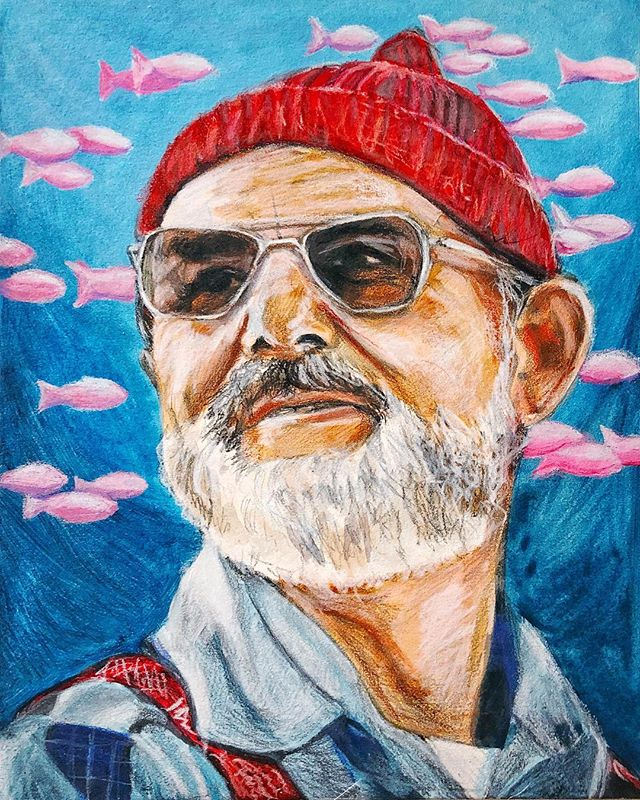 Another portrait I did in 2015; Bill Murray as Steve Zissou in Life Aquatic. Same technique as Ringo, combining 3 layers of washed acrylic over graphite drawing sealed with fixative and detailed with colored pencils.