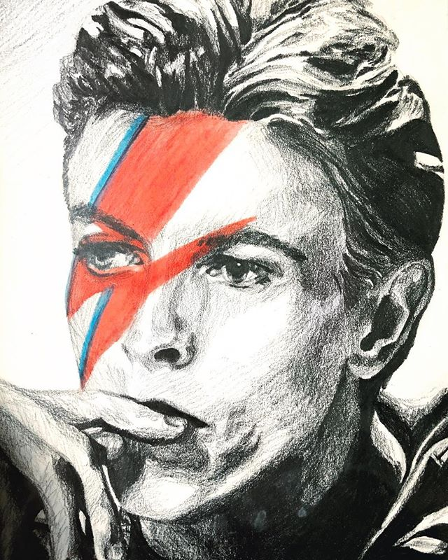 David Bowie drawn with graphite and some acrylic paint, 2014