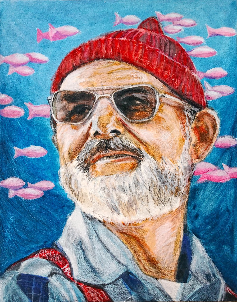 """Steve Zissou"" - Mixed Media on Illustration Board, 11"" x 14"""