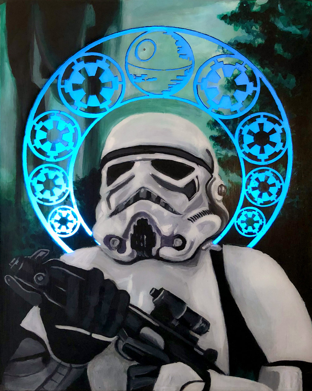 """Storm Trooper"" - Acrylic Laser Cut on Wood Panel, 12"" x 16"""