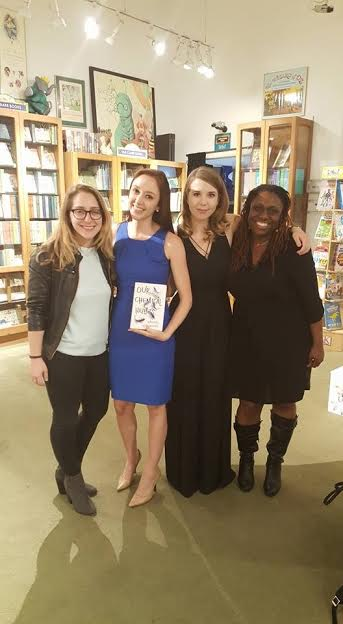 Part of the stellar team of humans at Putnam: Kate Meltzer, assistant editor, Lauren Donovan, publicist (who wore blue especially to match the cover!), yours truly, and Stacey Barney, editor extraordinaire